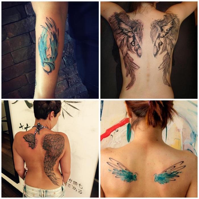 engel tattoos für frauen, kleine blaue flügeln am rücken, wasserfarben, unterarm tätowieren lassen