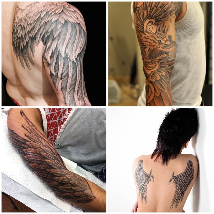 angelsflügel tattoo arm, schwarz graue realitische tätowierungen mit flügel als motiv