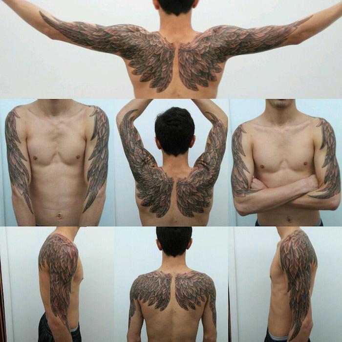 mann mit tötowierungen, zwei flügeln an den schultern, angelsflügel tattoo arm