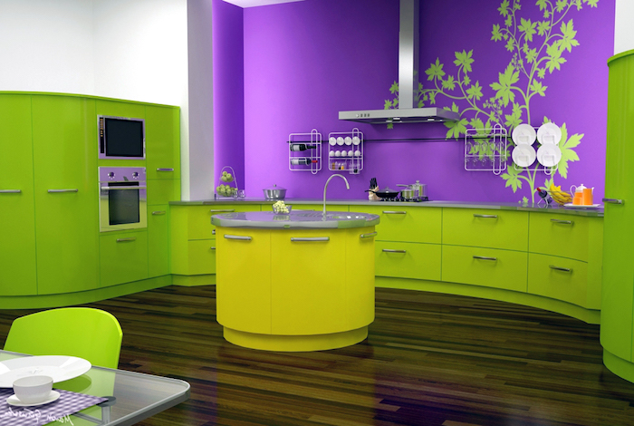 farbpalette grün, küche einrichten in lila und knallgrün, wandsticker mit floralem motiv, runder kücheninsel