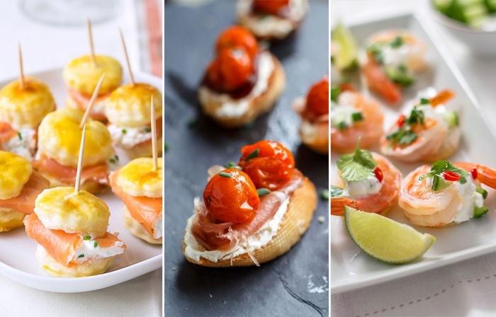 fingerfood schnell und einfach, häppchen mit lachs und frischkäse, bruschetten mit cherry tomaten, garnelen