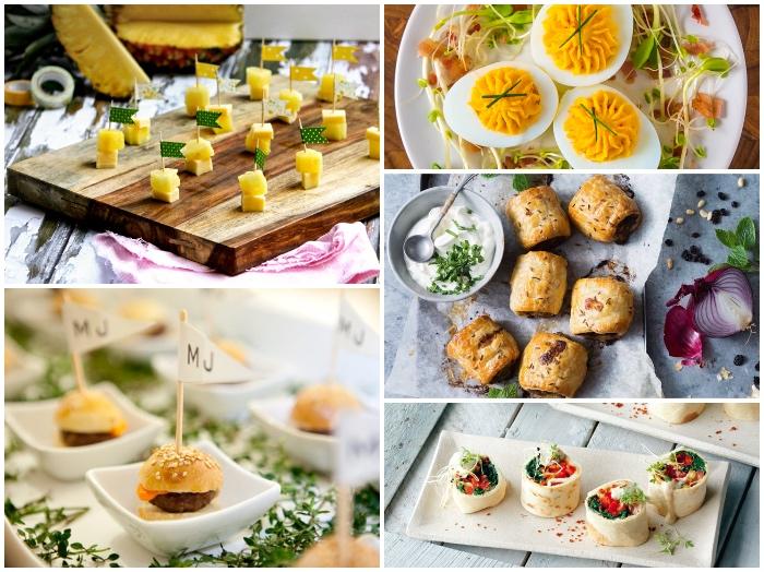 fingerfood silvester ideen, häppchen aus annanas und käse, gekochte eier, rollen, mini burgers