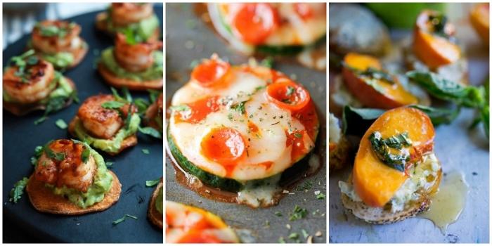 fingerfood silvester, verschiedene ideen, zucchni mit käse und tomaten, avocado mit pfirsich, garnelen