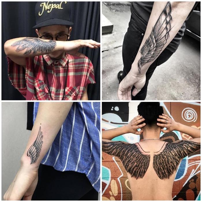 flügel tattoo designs, zwei vogelflügel am rücken, schwarz graue tätowierungen