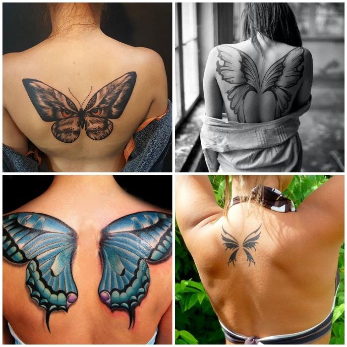 flügel tattoo designs für frauen, schmetterling in kombination mit eulenaugen, rücken tattoos