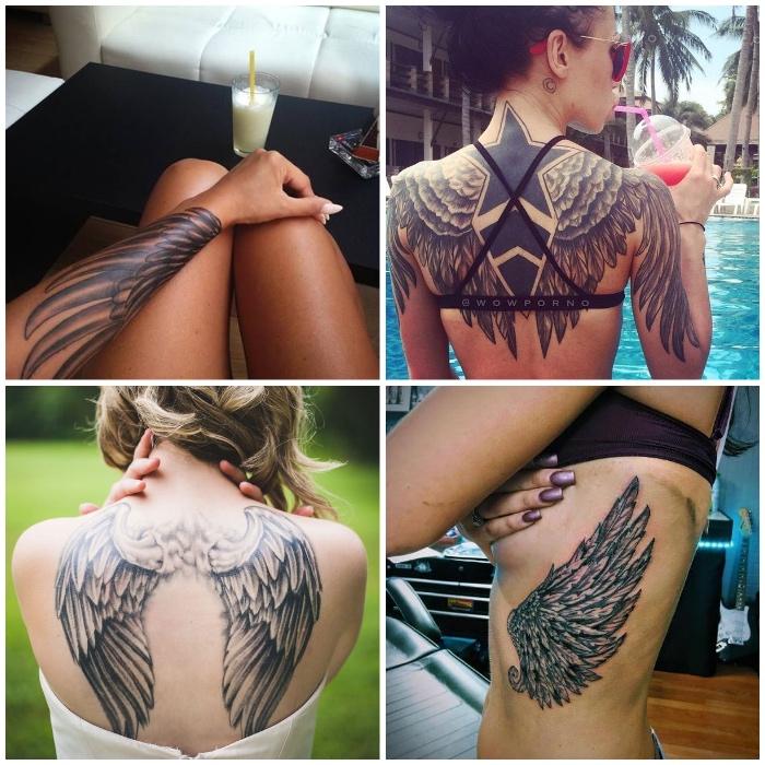 flügel tattoo, verschiedene designs, frauen mit tattoos, großer schwarzer stern mit vogelflügeln