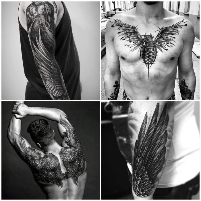flügel tattoo designs für männer, granate mit vogelflügeln, blackwork tattoos