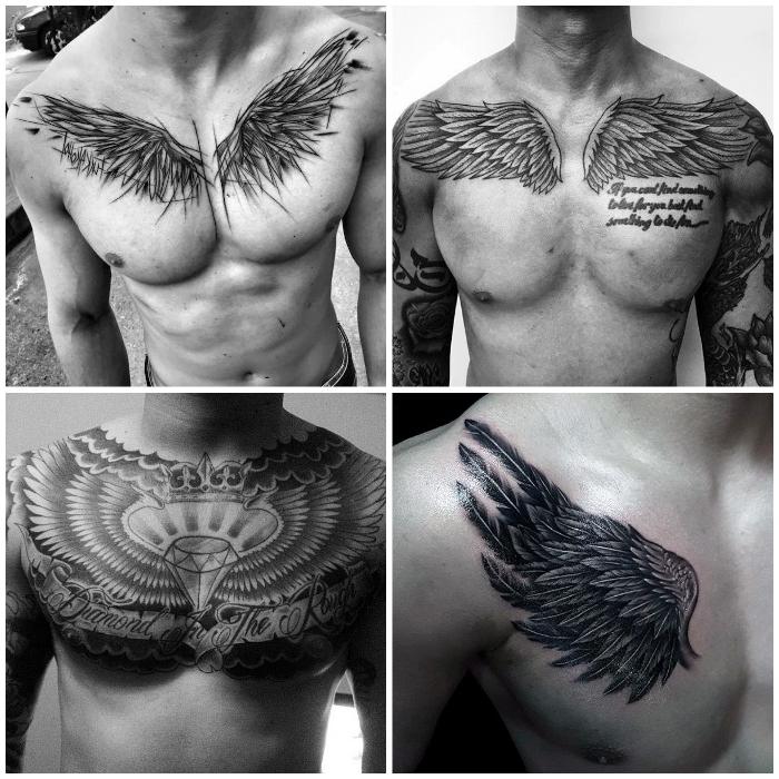 flügel tattoo für männer, brust tätowieren lassen, diamant in kombination mit federn