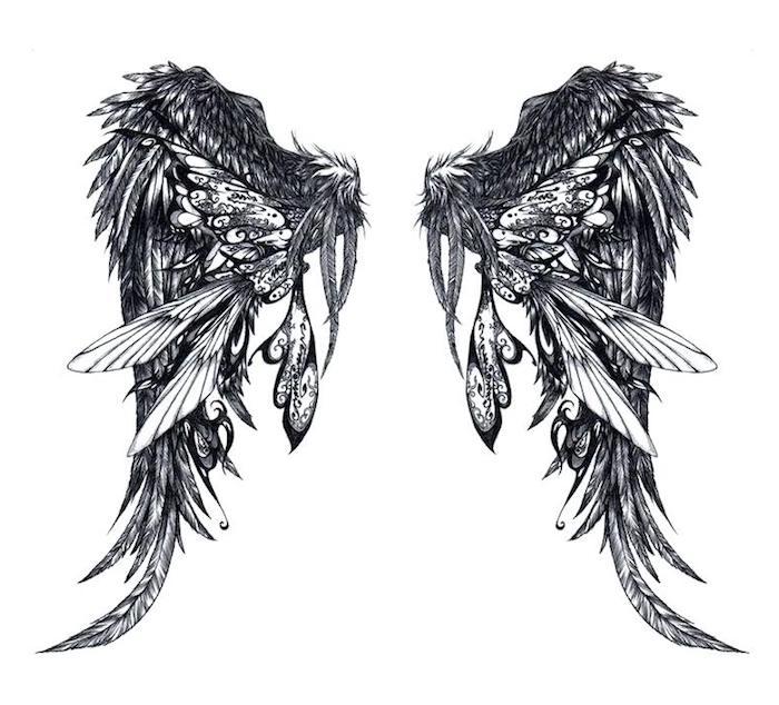 flügel tattoo vorlagen, weißer hintergrund, große fantastische flügel, zeichnung