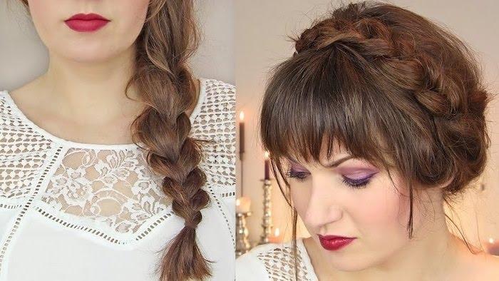 hochsteckfrisur mit zopf für feines haar, braune haare, helle hautfarbe, roter lippenstift, weiße bluse, spitze