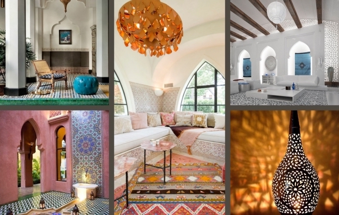 wohnzimmer deko ideen zum inspirieren und nachahmen, bunte dekorationen wie in dem orient, teppiche, lüster, vasen, bodenkissen