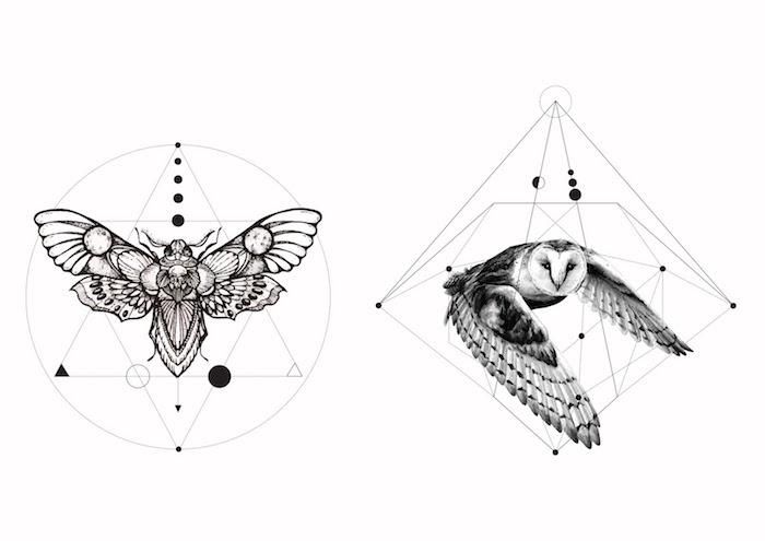 geometrische tattoos mit einem großen fliegenden schmetterling und einer weißen fliegenden eule mit schwarzen augen