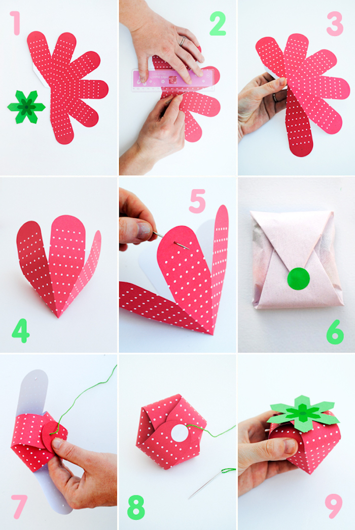 geschenkbox basteln, anleitung mit templates, box erdbeere, einfaches tutorial