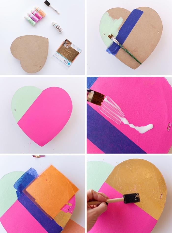 geschenkbox basteln, kartonbox mit aquarellfarben dekorieren, basteln mit blattgold