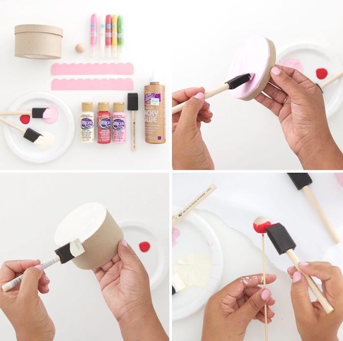 diy bastelideen zum geburtstag, geschenkbox basteln, kartonbox mit aquarellfarben dekorieren