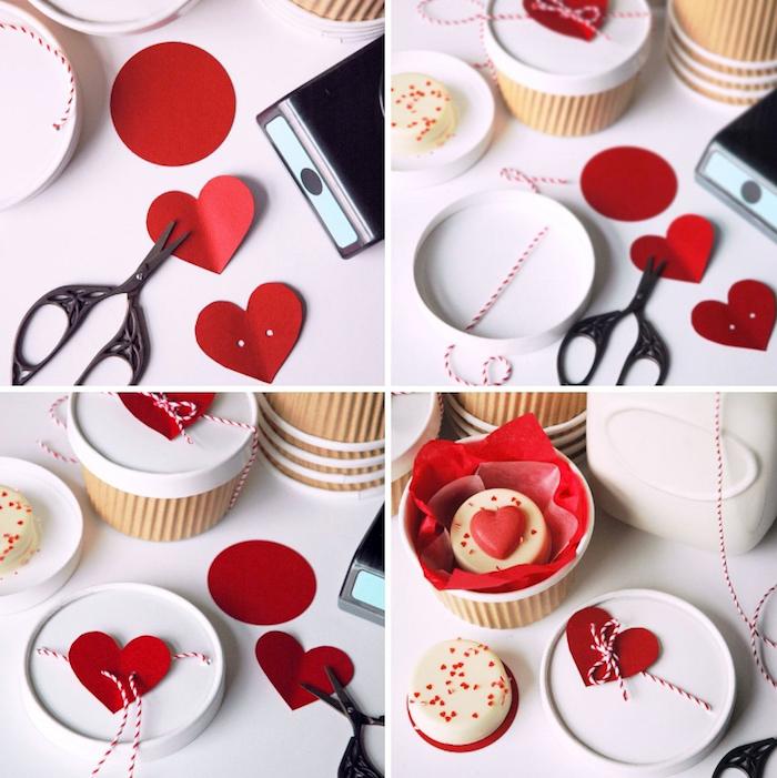 herz aus rotem papier, geschenkbox bastlen, geschenk zum valentinstag, süßigkeiten