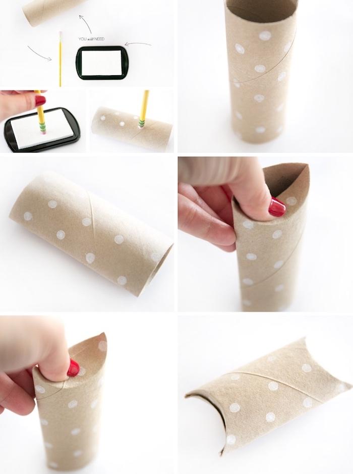geschenkbox weihanchten, basteln mit klorolen, weiße farbe, punkte machen