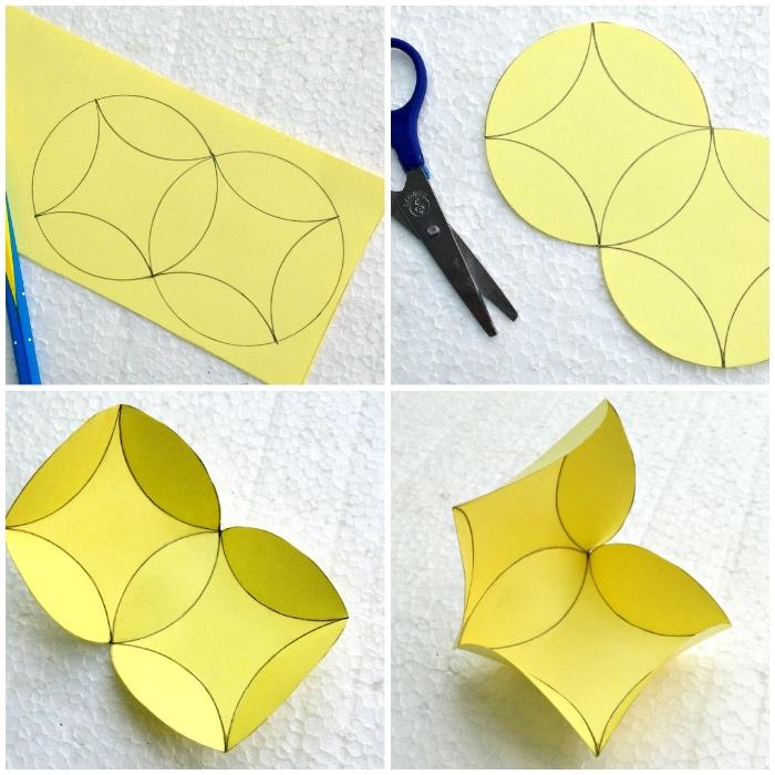 geschenkbox weihanchten, gelbes papier, zwei kreise, form zeichnen und ausschneiden