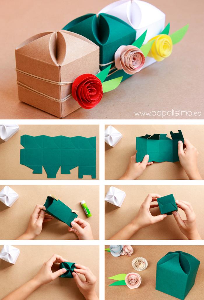 geschenkbox weihanchten, drei boxen in verschiedenen farben, grüner bastelkarton, papierrosen