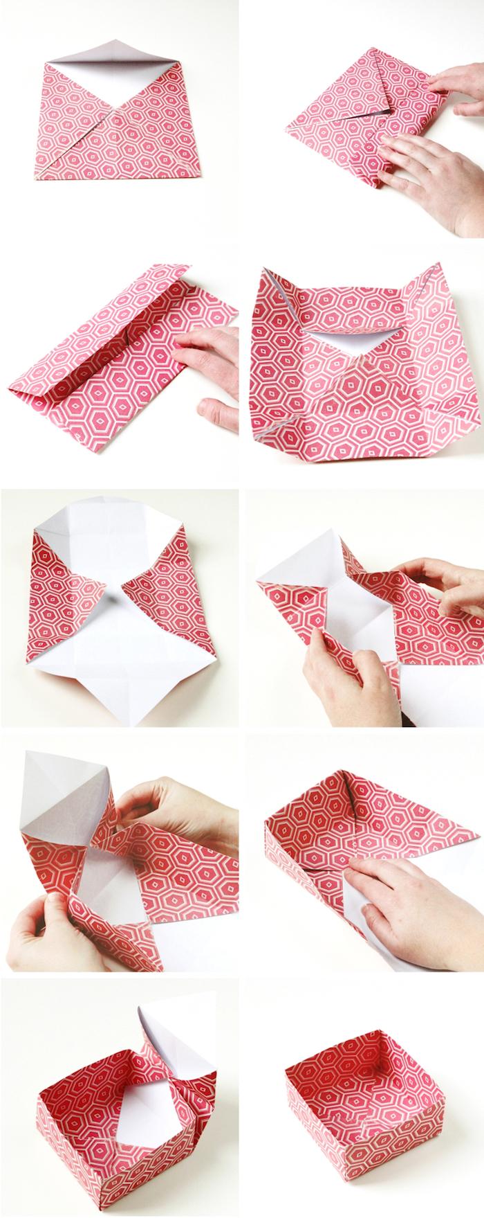 geschenkbox weihanchten, origami falten anleitung, basteln mit papier, geschenkverpackung