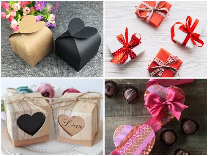 geschenkbox weihnachten und valentinstag, boxen in form von herzen dekorierne mit wasi tapes, verschiedene designs
