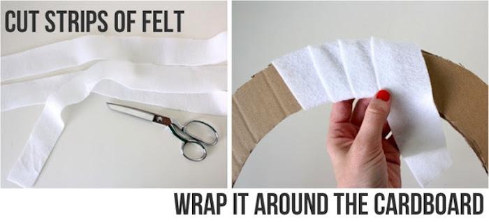 geschenkbox weihanchten, weihanchtskranz tutorial, ring aus pappe, streifen weißen stoff