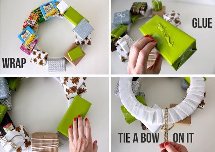 geschenkbox weihanchten, weihanchtskranz selber machen, viele geschenkboxen