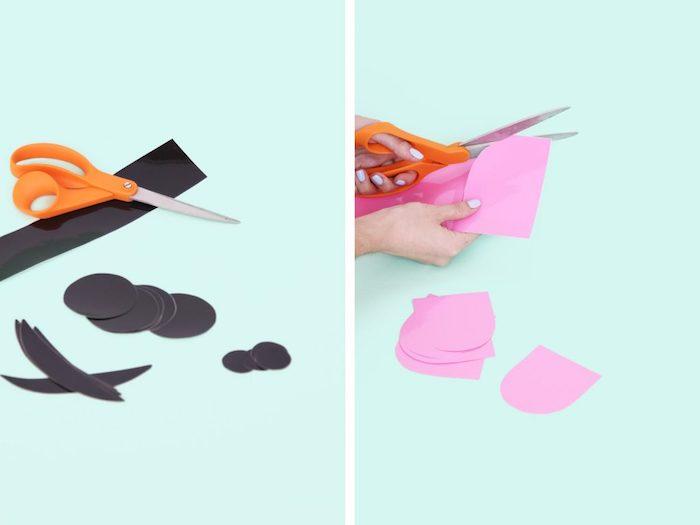 Gespenst aus weißem Ballon selber machen, Augen und Zunge aus Papier schneiden