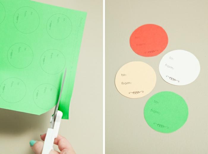 machen Sie runde Schablone, drucken Sie diese aus und schneiden Sie aus, Geschenke schön verpacken