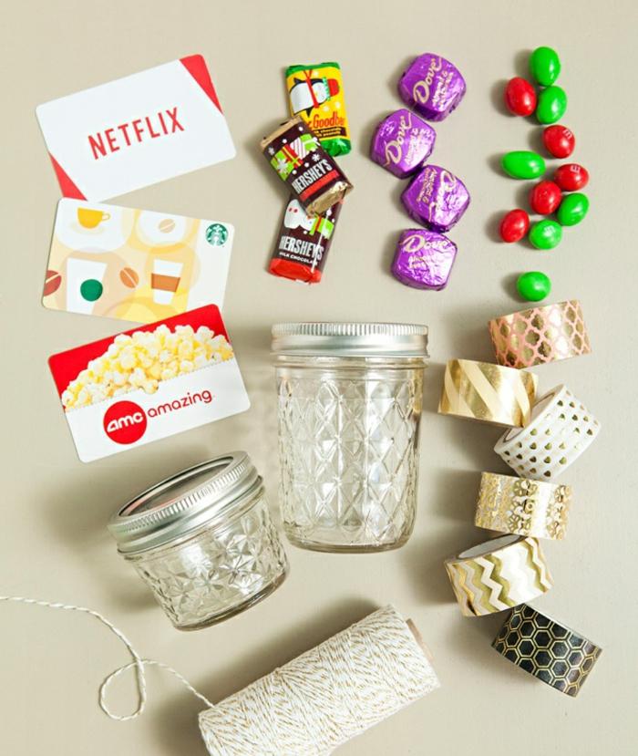 die benötigten Sachen, Gutschein originel zu verpacken, Geschenke schön verpacken, Süßigkeiten, Gutscheine, Weckgläser