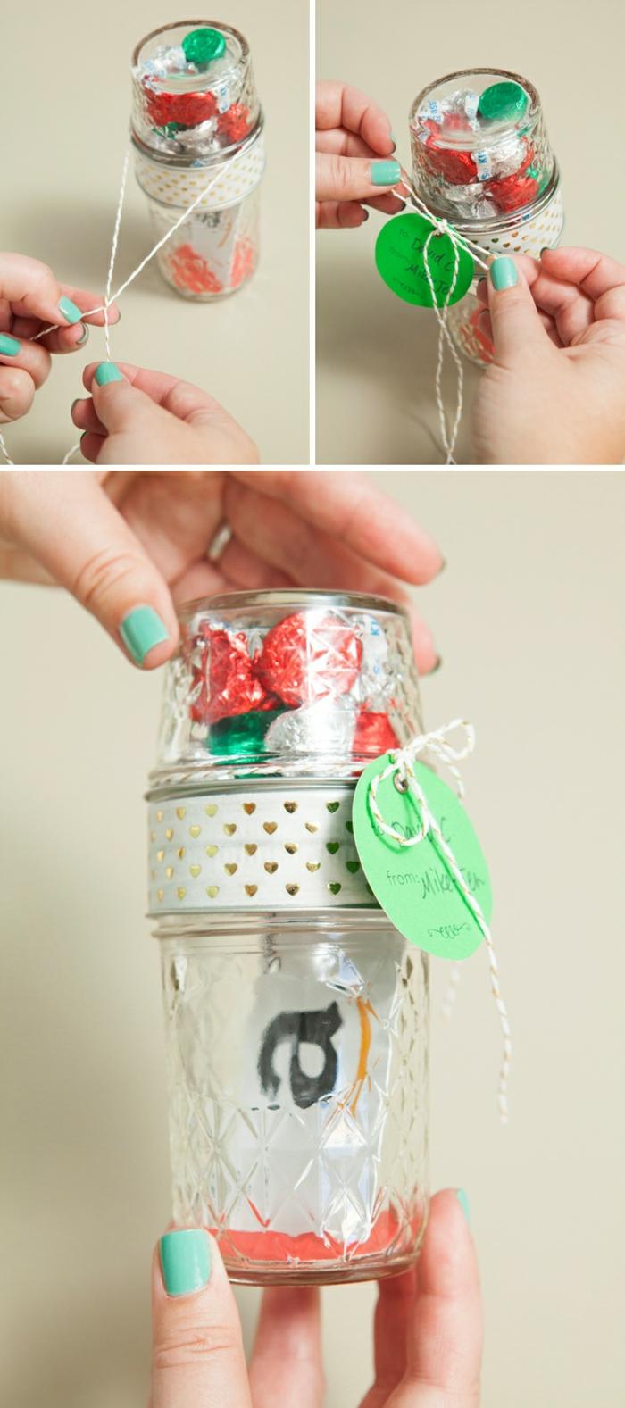 Eine Anleitung, wie Sie den Anhänger binden, Geschenke schön verpacken, originelle Ideen