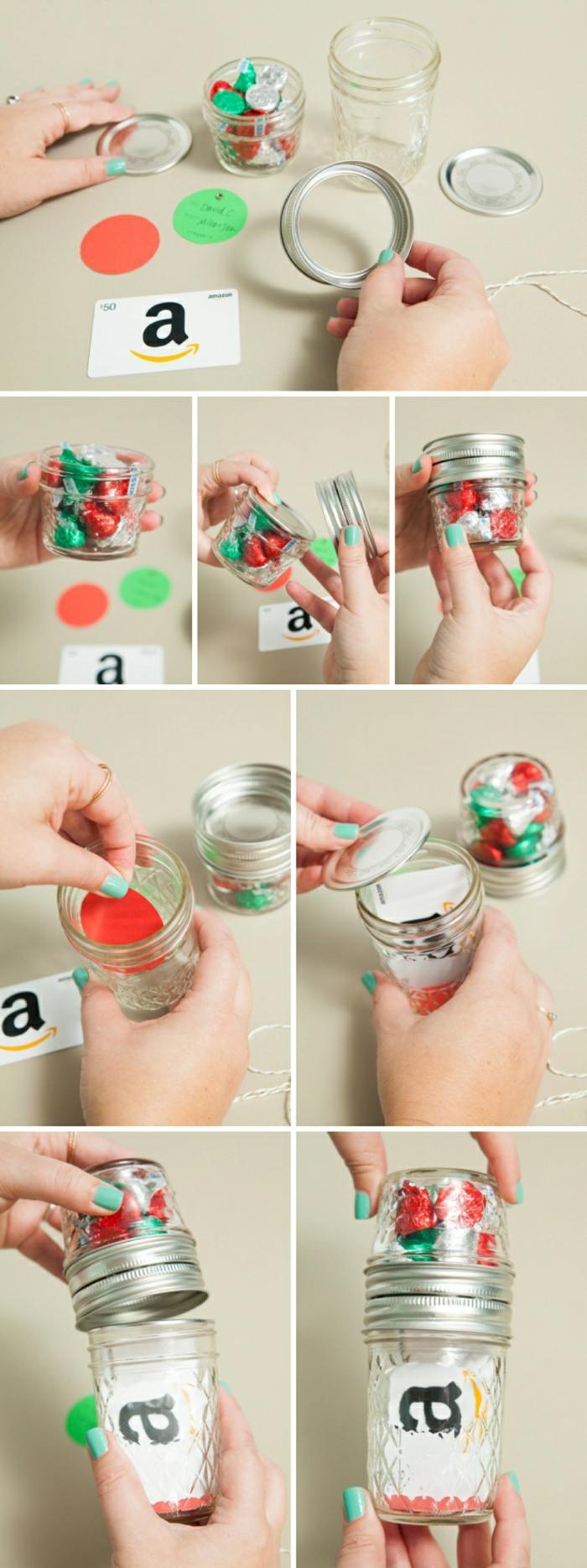 Geschenke schön verpacken, Amazon Gutschein verpacken und Süßigkeiten, eine Anleitung, wie Sie alles zusammenstellen