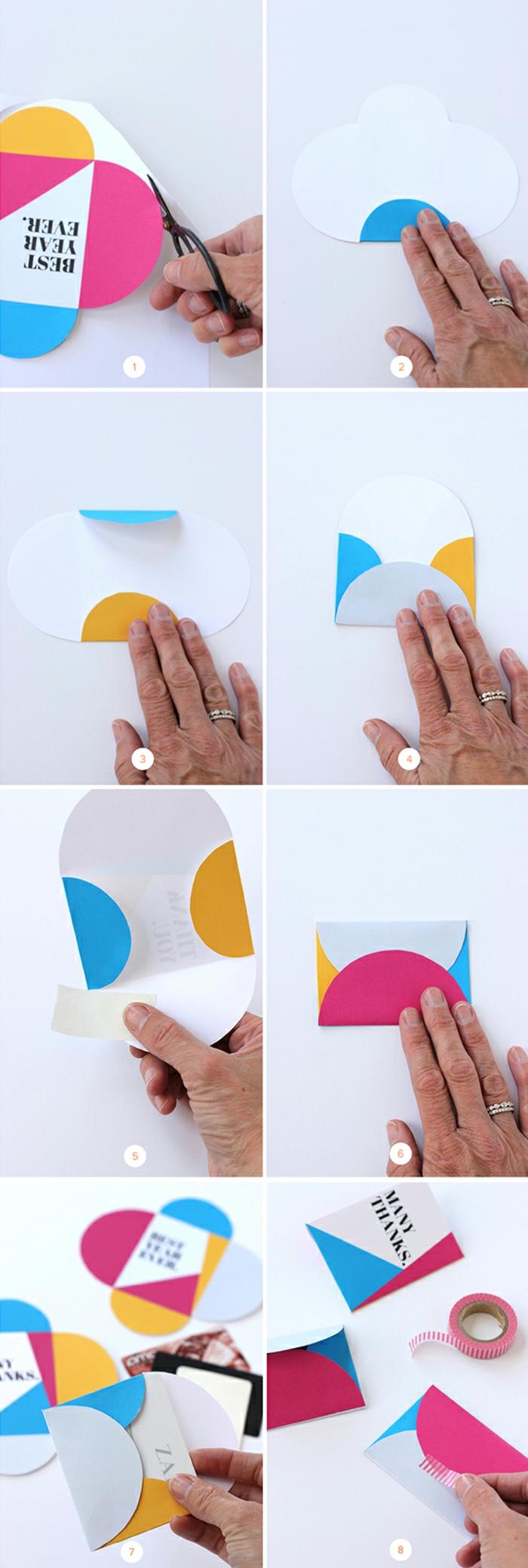 eine Schritt für Schritt Anleitung, wie Sie den Briefumschlag falten, Gutschein verpacken