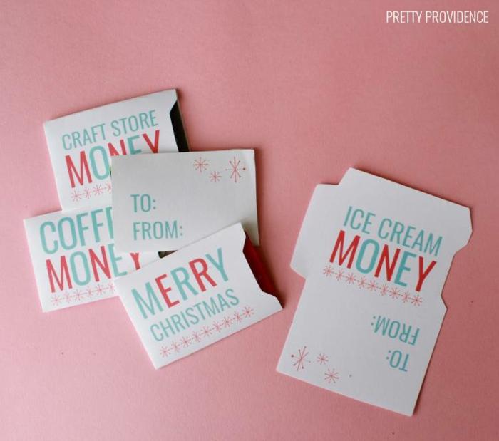 selbstgemachte Gutscheine zu Weihnachten, Geld für Eis, Kaffee oder Hobby