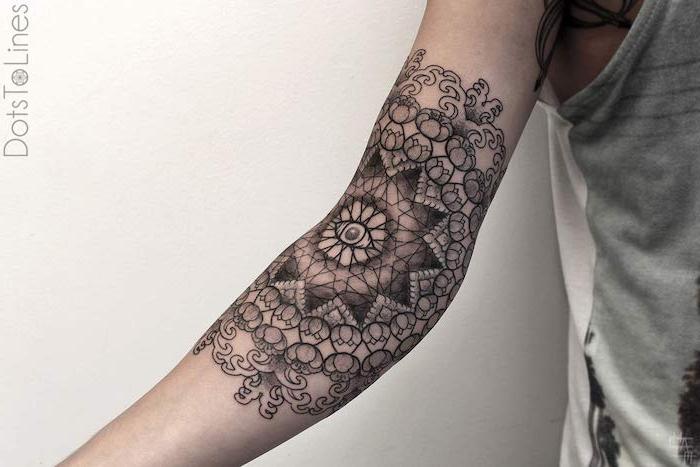 weiße wand und eine hand mit einem schwarzen mandala tattoo mit einer schwarzen auge, frauen tattoo ideen