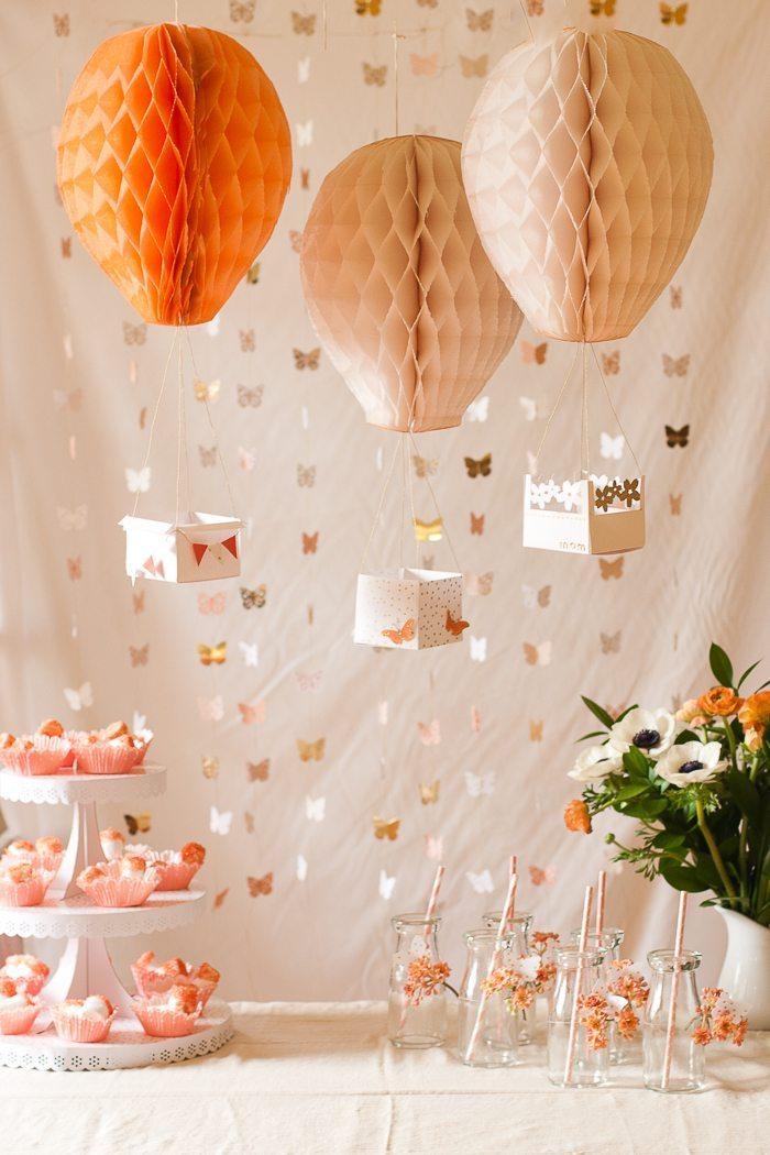 heißluftballon basteln, partydeko selber machen, ballons aus papier, nachtischgestell mit muffins