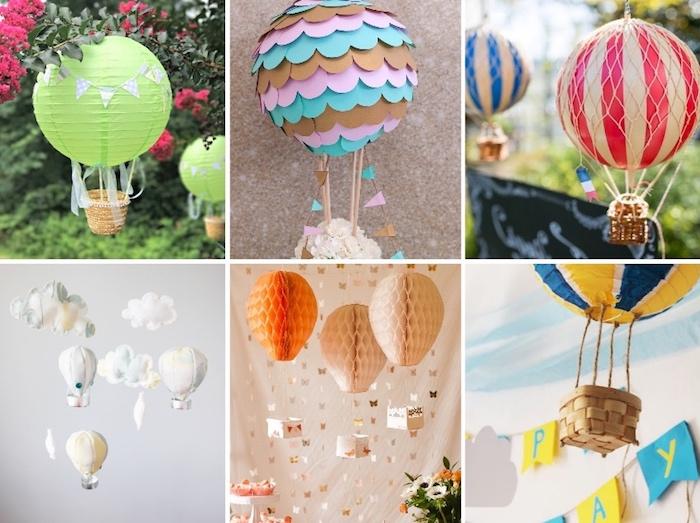 heißluftballon basteln, gartendeko selber machen, ballons aus wabenbällen, grüne laterne, tutorials