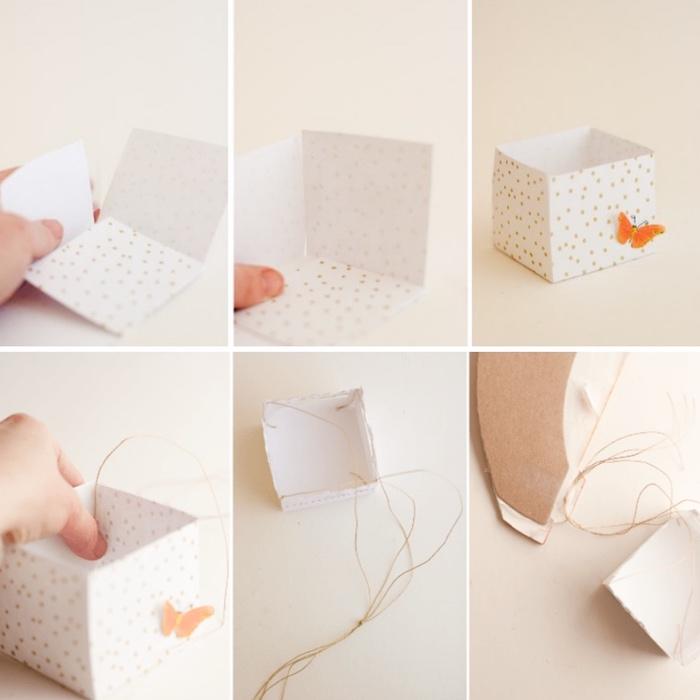 basteln mit papier, heißluftballon deko selber machen, kleine box aus bastelkarton