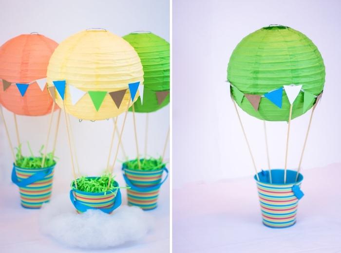 heißluftballon deko, tischdeko sleber machen, grüne laterne, bunte einer, wolke aus watte