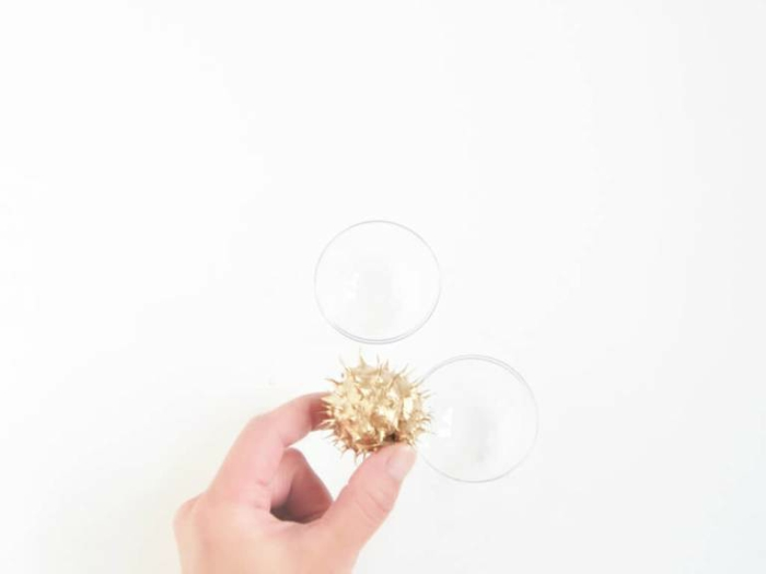 eine Anleitung, wie Sie die goldene Kastanien in dem Kugel zu stecken, Basteln mit Kastanien