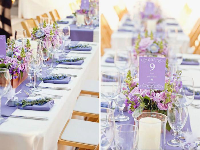 tischdeko hochzeit selber machen, heiraten im frühling, tischdekoration in weiß und lila