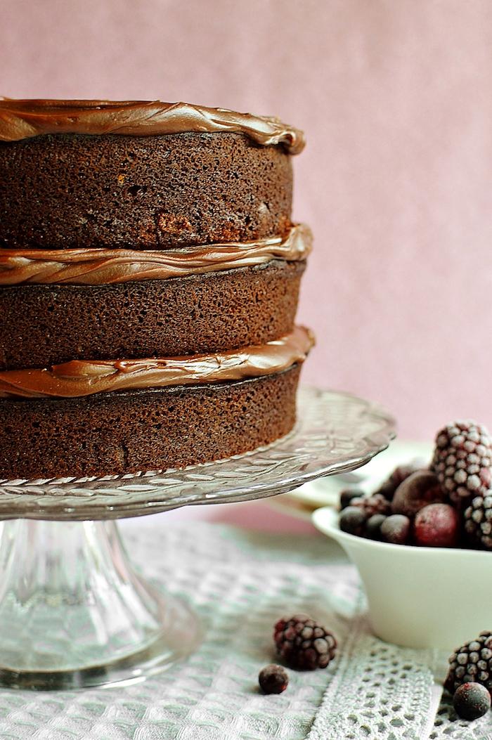 Dreistöckige Torte selber backen, mit Schokoladencreme und gefrorenen Beeren
