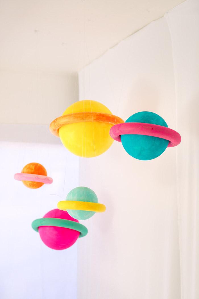 Tolle Idee für Geburtstagsdekoration, Saturn aus aufblasbarem Ball und Ring selber machen und aufhängen