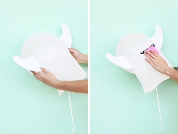 Gespenster aus Ballons selber machen, Zunge aus Papier kleben, lustige DIY Idee für Kinder