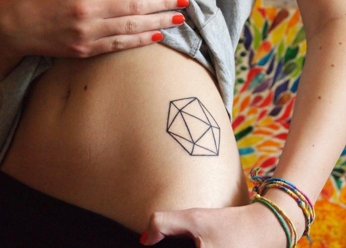eine hand mit einem roten nagellack, eine junge frau mit einer hand mit bunten armbändern, frauen tattoos mit geometrischen formen