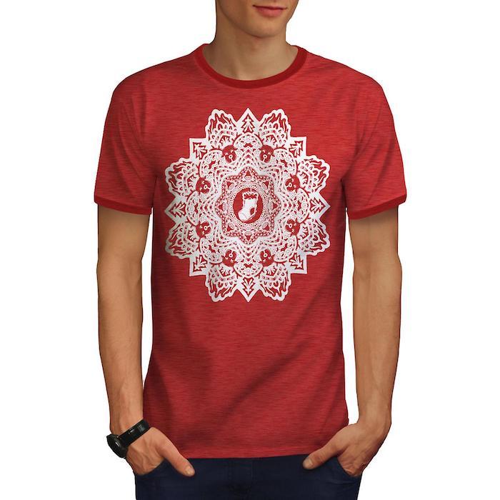 mann mit einem roten t-shirt mit einer großen weißen mandala blume, ein junger mann mit einer hand mit einer schwarzen armbanduhr
