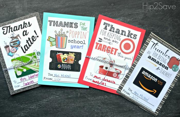 vier Kärtchen mit verschiedene Gutscheine für den Lehrern, Geschenke originell verpacken