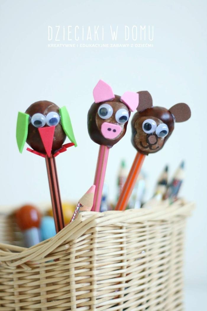 drei Krastanientierchen, Bastelideen mit Kastanine, die Kinder können damit spielen und schreiben
