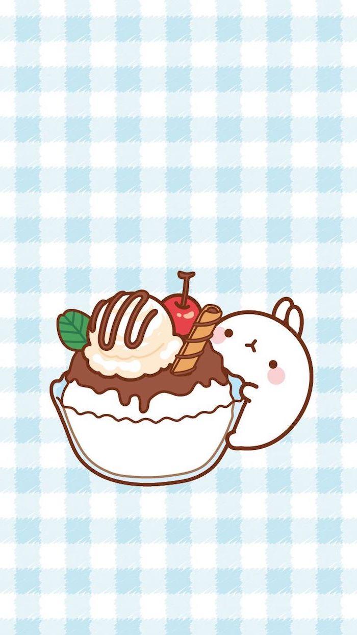 Süßes Kawaii Bild zum Nachmalen, Eis mit Schokoladenglasur und Kirsche, kleiner weißer Hase