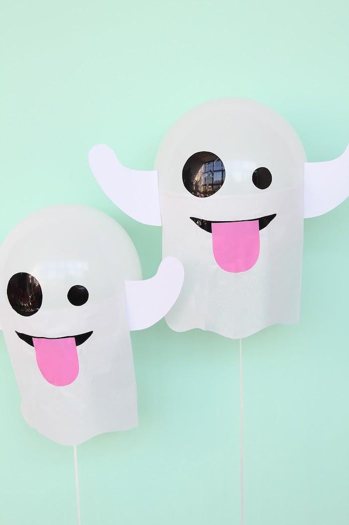 Lustige Gespenster aus Ballons selber machen, coole Deko für Kindergeburtstag